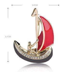Jewelry - Black Red Enamel Boat & Man Brooch